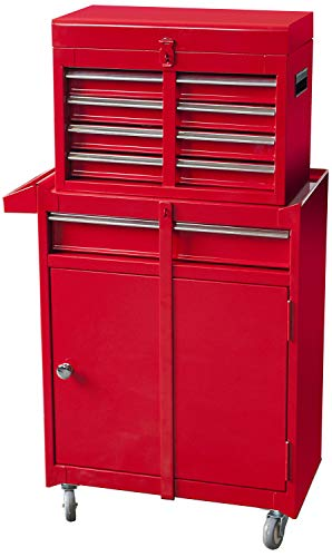 BIG RED ATBT1204R-RED Torin Rolling Garage Workshop Tool Organizer: Detachable 4 Drawer Tool Chest with Large Storage Cabinet and Adjustable Shelf, Red