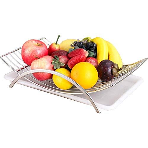Fruitschaal RVS Hollow Fruit Bowl Drain Winkelwagen Home Living Room Table Coffee Table fruitschaal (Color : Metallic)