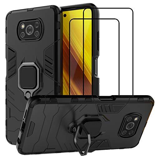 QCMM for Xiaomi Poco X3 NFC/Xiaomi Poco X3 Kickstand Case with Tempered Glass Screen Protector [2...