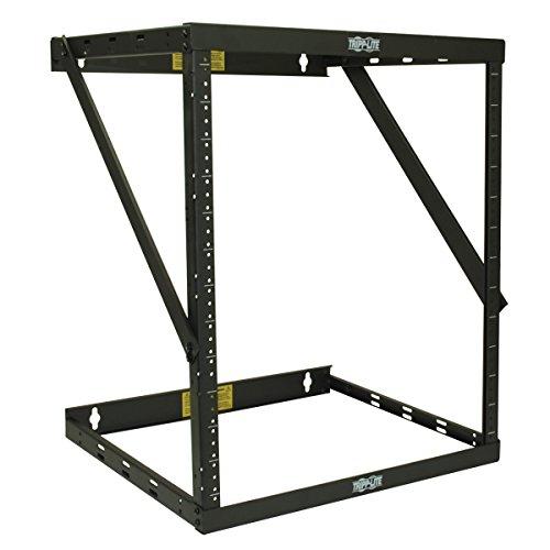 Tripp Lite 8U/12U/22U Expandable Wall-Mount 2-Post Open Frame Rack, Adjustable Network Equipment Rack, Switch Depth, 18 Deep, 5 Year Warranty (SRWO8U22), black, 17.8 (8U) , 24.8 (12U), 42.3 (22U) x 2
