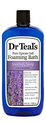 Dr Teal's Foaming Bath with Pure Epsom Salt, Soothe & Sleep with Lavender, 34 Ounces