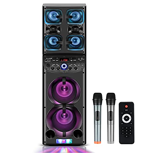 Karaoke Machine for Adult and Kids Portable PA System Bluetooth Family Singing Machine with 2 Woofers 2 Wireless Microphones Disco Light TWS Mode Indoor Outdoor Party