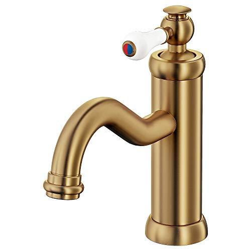 HAMNSKÄR rubinetto per lavabo con colino 19 cm colore ottone