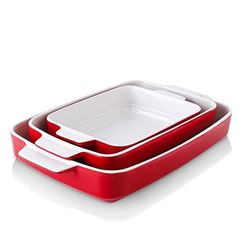 KOOV Bakeware Sets, Ceramic Baking Dish Set, Casserole Dish Set for Cooking, Cake Dinner, Kitchen, Rectangular Lasagna Pan 9 x 13 Inches, Baking Set Step Series 3-Piece (Red)