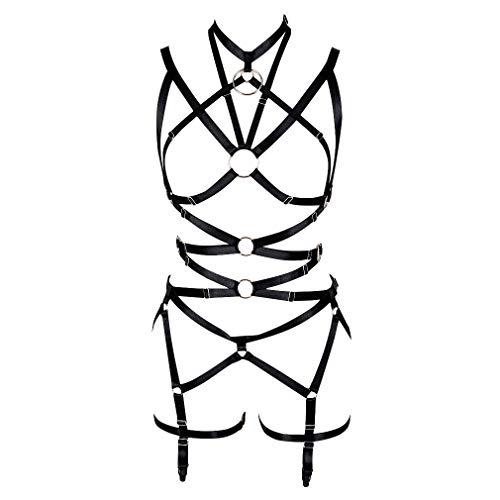 Women's Punk Cut Out Harness Body Full Strappy Lingerie Waist Garter Belts Set Elasticity Bralette Goth EDC Halloween Club Party Dance Rave Wear (Black)