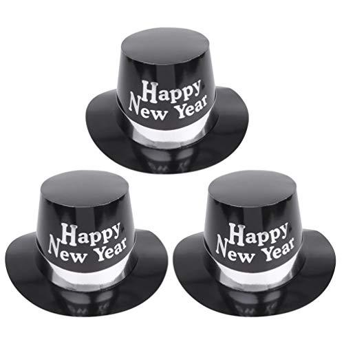NUOBESTY Sombreros divertidos para fiesta de Ao Nuevo 2020, 3 unidades, para fiesta de Ao Nuevo Cotusme Favors Photobooth Propss blanco