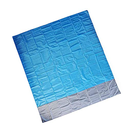 YLWL Alfombrilla de Picnic Plegable portátil para césped al Aire Libre, Manta Impermeable, colchoneta para Suelo, colchón, Tienda de campaña, Nailon (Azul y Gris)