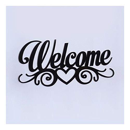 Wall Sticker Welkom Word Sign, Family Naambordjes Acryl Spiegelwand Sticker Design Met Zelfklevende Glue Decor Van Het Huis (Color : Black, Size : 20cm)