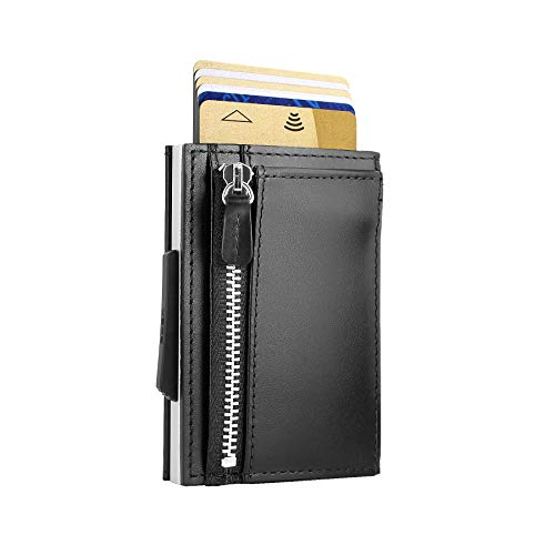 Ögon Smart Wallets - Cascade Zipper Wallet - RFID Protection : Protects Your Cards from Stealing - Up to 10 Cards + receits + Notes - Anodised Aluminium (Schwarz)