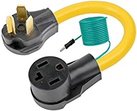 Nema 10-30P to 14-30R Dryer Adapter Cord, STW 10-AWG Heavy Duty 3-Prong Dryer Male to 4-Prong Dryer Female Adapter, 10-30P to 14-30R with Additional Green Ground Wire 1-Foot