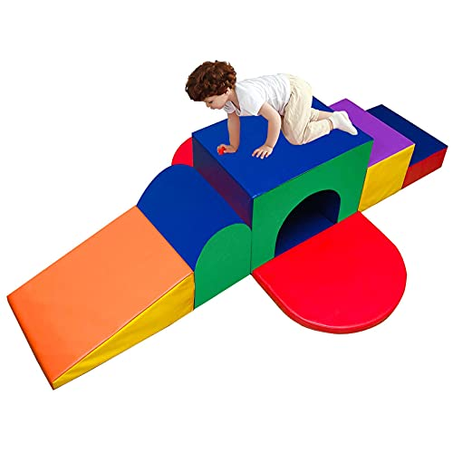C-CHAIN Climb and Crawl Activity Play Set, 7-Piece Set Lightweight Soft Foam Blocks for Climbing, Crawling and Sliding, Indoor Climbing Toys for Babies, Kids, Toddlers, Preschoolers