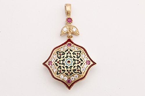 Motif Style Turkish Handmade All Authentic Jewelry Red Enamel Round Cut Ruby Topaz 925 Sterling Silver Pendant