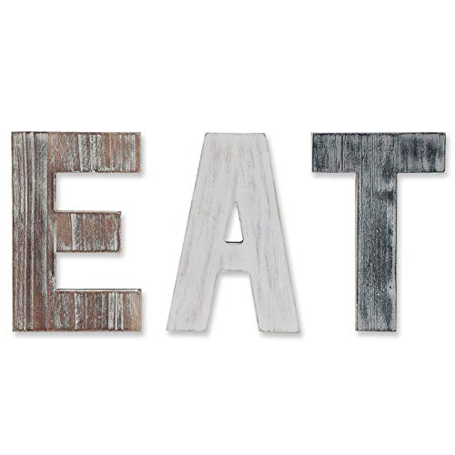 Wooden Eat Sign for Kitchen Decorations, Rustic Eat Signs Kitchen Wall Decor, Farmhouse Kitchen Wall Art, EAT Letters Farmhouse Kitchen Decor for Dining Room & Eatery, Easy to Hang or Stand on Table