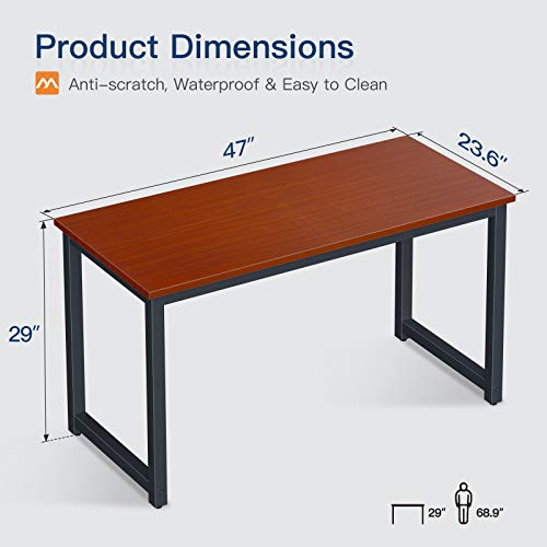 Coleshome Computer Desk 47 inch Modern Sturdy Office Desk Study Writing Desk for Home Office,Teak