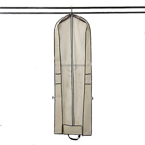 180cm/71inch Portable Gusseted Gown Garment Bag Bridal Wedding Travel Storage Protector Cover for Long Dress Dance Costumes Suits Gowns Coats