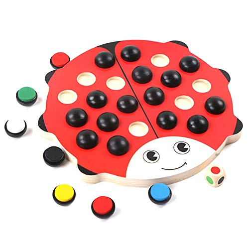 Brain Training Children Memory Chess,rompecabezas madera dibujos animados de mariquitas,juego educativo interacción entre padres e hijos, juguetes educativos, mejorar la imaginación tridimensional