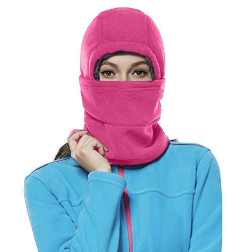 Achiou Winter Balaclava Fleece Hood Ski Mask for Women Kids, Thermal Face Cover Hat Cap Scarf for Cold Weather Rose