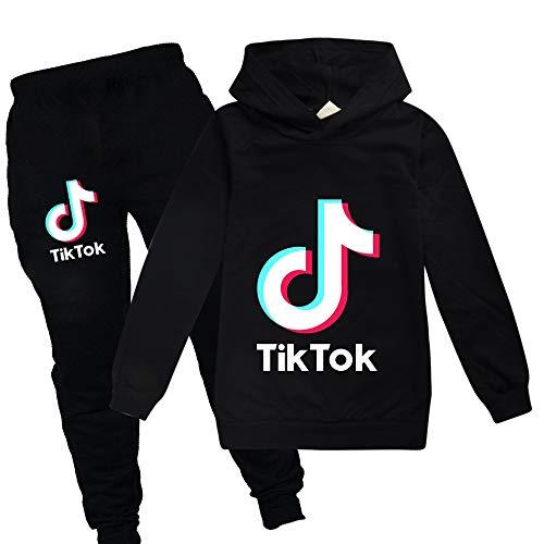 TIK Tok - Sudaderas con capucha unisex para niños Negro Negro ( 9-11 Años