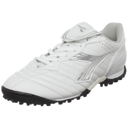 Diadora Women's Scudetto LT Turf Soccer Furf,White/Silver/Black,9.5 M US