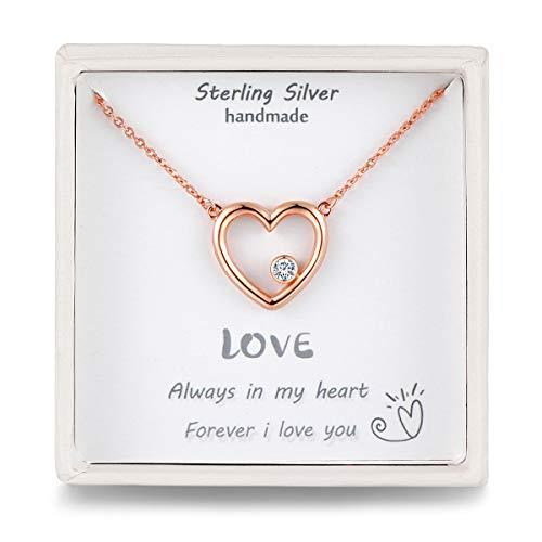 Qings Herzkette Damen Rosegold Kette Herz Frauen Halskette mit Anhänger Silber Geschenke für Damen Frauen Freundin Pärchen und Deine Liebe
