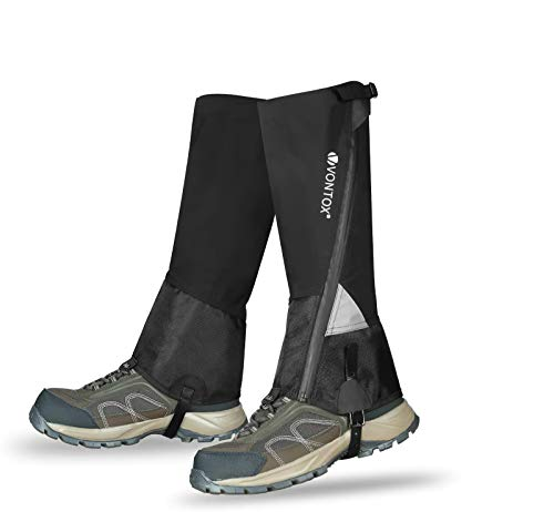 V VONTOX Leg Gaiters with Waterproof Zipper,Nylon Waterproof Snow Boot Gaiters for Men/Women, Breathable Adjustable Gaiters for Hiking,Hunting,Skiing,Running,Snowshoeing(L)