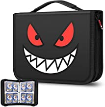 Brappo 4-Pocket Zippered Binder for Pokemon Cards, Fits 400 Cards with 50 Removable Sheets, Portable Cards Collector Album for Trading Card Games