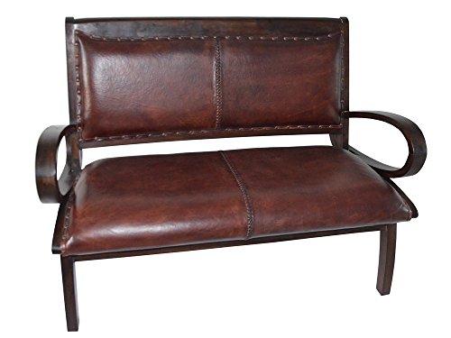 Colonial sofá plazas teca marrón sala de estar salón piel natural