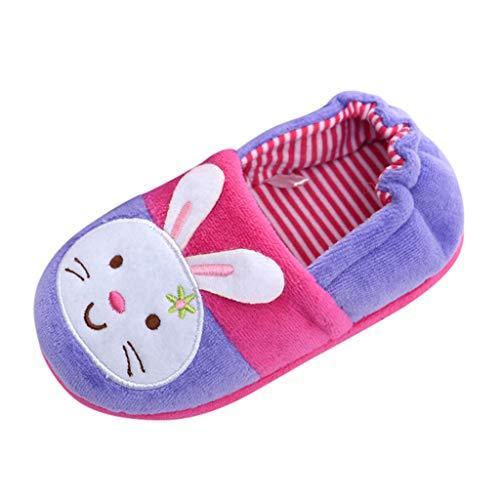 WOAORO Pantofole Bambine Bambini Morbide Scarpe di Cotone con Antiscivolo E Calde Pelliccia Interno Ciabatte Invernali Scarpe Pantofole Elastiche Cartone Animato Scarpe