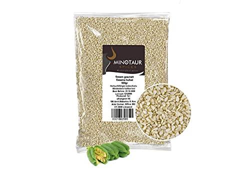 Minotaur Seeds | Sesamo bianco decorticato, semi di sesamo naturali, Vegan, 2 x 500 g (1 Kg)