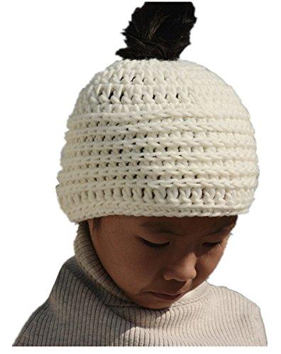Tinacrochetstudio Messy Bun Hats Ponytail Beanie Chunky Crochet Homemade Chirstmas Gifts (Teen and Adult, Ivory)