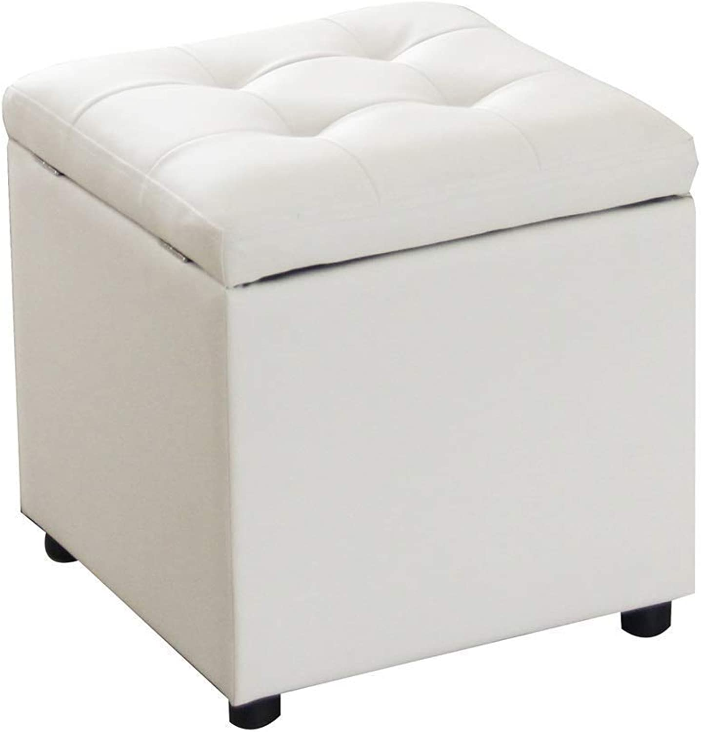 Fashion Storage Change shoes Stool PU Foot Stool Storage Low Footstool Portable Picnic Seat Versatile Space-Saving Cubes HENGXIAO (color   White)