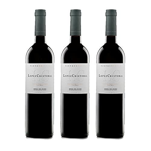 Vino Tinto Lopez Cristobal Reserva de 75 cl - D.O. Ribera del Duero - Bodegas Lopez Cristobal (Pack de 3 botellas)