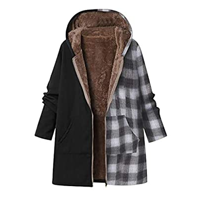 ONLY TOP Women's Winter Warm Coat Hoodie Parkas Overcoat Fleece Outwear Jacket D-Black