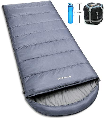 NORSENS Camping Sleeping Bags - Lightweight Compact Sleeping Bag for Adults, Kids - 3 Season Warm & Cold Weather Sleeping Bags for Hiking,Backpacking, Traveling (Gray)