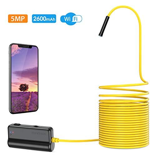DEPSTECH Endoscopio Inalámbrico 5.0MP, WiFi Cámara de Inspección HD Boroscopio Distancia Focal de 16 Pulgadas, Batería 2200mAh para iOS, Android, iPhone, Tableta- 5M