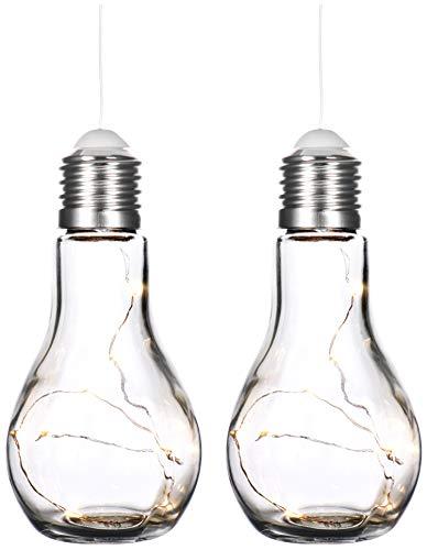 com-four® 2X Deko Glühbirne mit LED Lichterkette zum Aufhängen und Hinstellen - batteriebetriebene Tischlampe für schönes Ambiente - kabellos (02 Stück - Glühbirne)