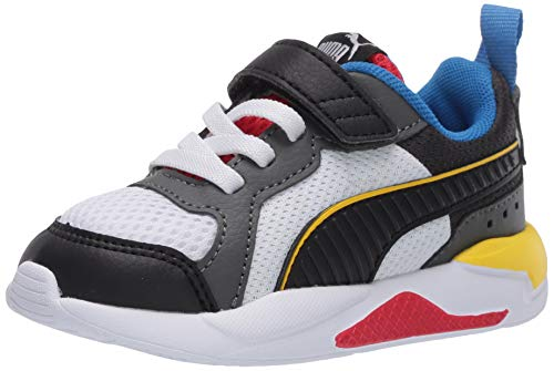 PUMA Unisex-Kid's X-Ray Slip On Sneaker, White Black-Dark Shadow-Dandelion-High Risk Red, 3.5 M US Big Kid