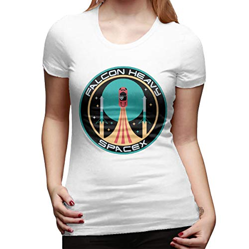 John J Littlejohn Falcon Heavy Spacex Damen-T-Shirt, klassisch, kurzärmelig, Rundhalsausschnitt, stylisch S weiß