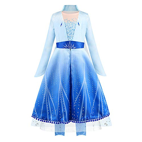 Elsa 2 Dress Up Costume Set Kids Dress Princess Robe Birthday Party Dress, Pants, Cloak 3PCS Clothes 9T Blue