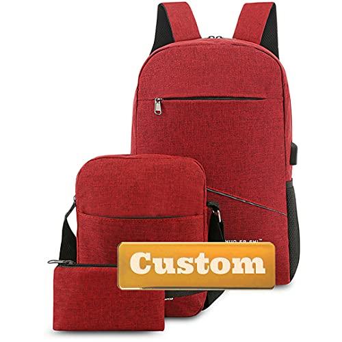 INGKDDL Zaino per Laptop Personalizzato da Lavoro Personalizzato per Laptop da 15.6 Pollici per la Porta USB Portatile da Donna (Color : Red, Size : One Size)