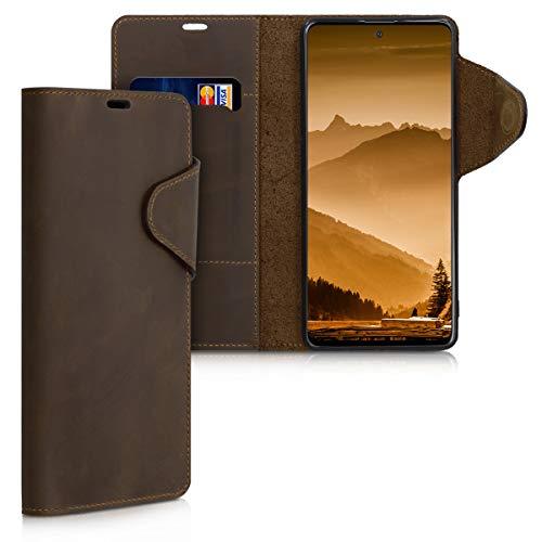 kalibri Carcasa Compatible con Samsung Galaxy A51 - Funda con Tapa Tarjetero y Soporte de Piel - marrón