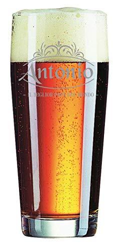 Colorfamily Bicchiere da Birra con Incisione Festa del papà Personalizzabile con Nome - Il miglior papà del Mondo - Regalo papà - Bicchiere in Vetro 40 cl