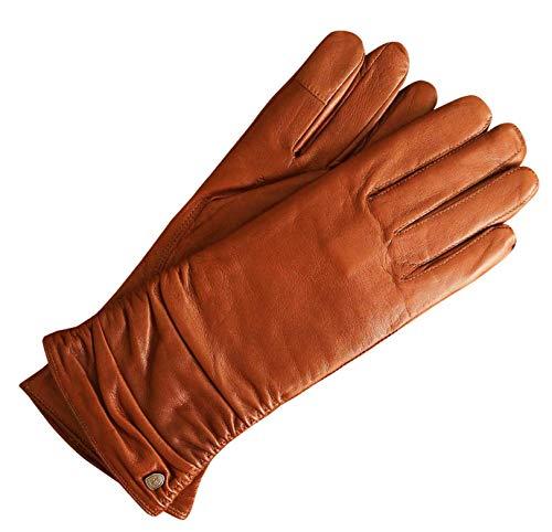 AKAROA ESTD 2019 Lederhandschuhe Damen BEA, italienisches Haarschafleder, Touchfunktion, Strickfutter aus 50% Kaschmir und 50% Wolle, cognac M