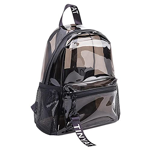 Peng Fang Moda clara PVC mujeres mochila nueva tendencia transparente mochila sólida viajes escolar bolsa de mochila para niñas mini playa Mochila-Black Backpack