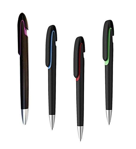 100 Penne personalizzate con il tuo nome o logo - modello FLUX BLACK - colori assortiti