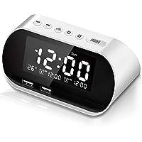 CHIMAERA Reloj Despertador,Digital Alarma Despertador,FM Radio Reloj Digital,Despertador Digital con Alarmas Doble,Función Snooze,Pantalla de Temperatura, 7 Sonidos de Alarma, 5 Brillo Ajustable