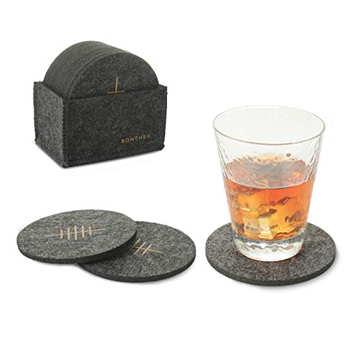 BONTHEE Sottobicchieri rotondi in feltro per bevande, sottobicchieri rotondi assorbenti con sottobicchieri, sottobicchieri, per tazze, vetro, tazze, colore nero (set da 12)