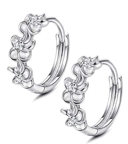 Sllaiss 925 Sterling Silver Plumeria Flower Hoop Earrings for Women Girls Cubic Zirconia Huggy Hinged Earrings