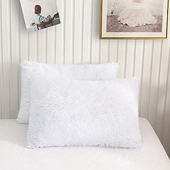 XeGe Faux Fur Throw Pillow Cases Plush Shaggy Ultra Soft Pillow Cover Fluffy Crystal Velvet Decorative Pillowcases Zipper Closure,Set of 2 Standard White