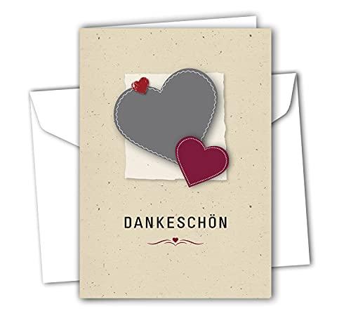 RotfuchsDesign 12 x Dankeskarten Danksagung Dankeschön-Karten mit Umschlägen Klappkarte im Set Motiv: Herz Danke sagen Blanko DIN A6 für Hochzeit Taufe Geburtstag Jubiläum Konfirmation
